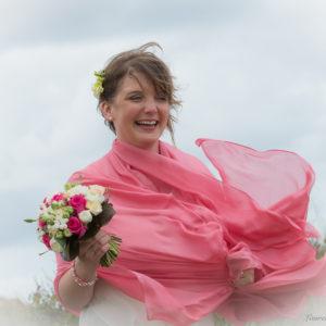 du vent dans l'étole de la mariée